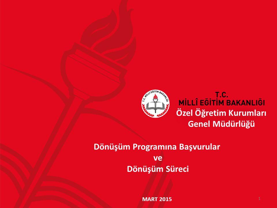 Özel Öğretim Kurumları Genel Müdürlüğü 2 Dönüşüm Programı Kapsamında Mevzuat Düzenlemeleri: 14 Mart 2014 tarihinde 6528 sayılı Kanun yürürlüğe girmesi, 18 Nisan 2014 tarihinde 2014/7 sayılı Genelgenin yayımlanması, 29 Mayıs 2014 tarihinde Dönüşüm Programına İlişkin Kılavuzunun yayımlanması, 05 Temmuz 2014 Özel Öğretim Kurumları Yönetmeliğinin yayımlanması,