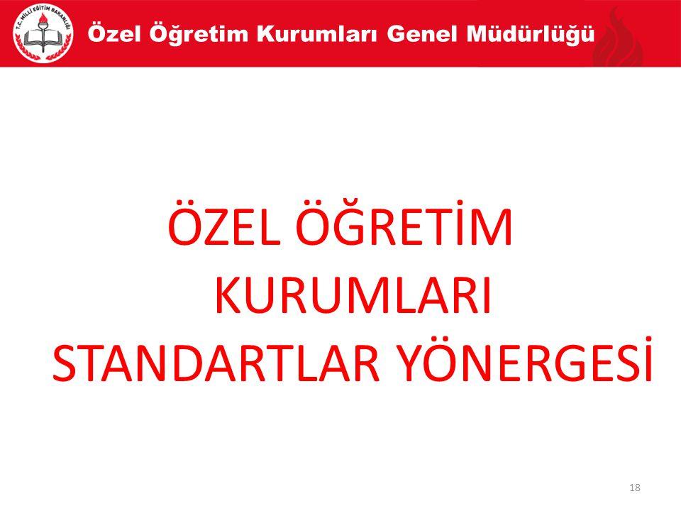 Özel Öğretim Kurumları Genel Müdürlüğü ÖZEL ÖĞRETİM KURUMLARI STANDARTLAR YÖNERGESİ 18