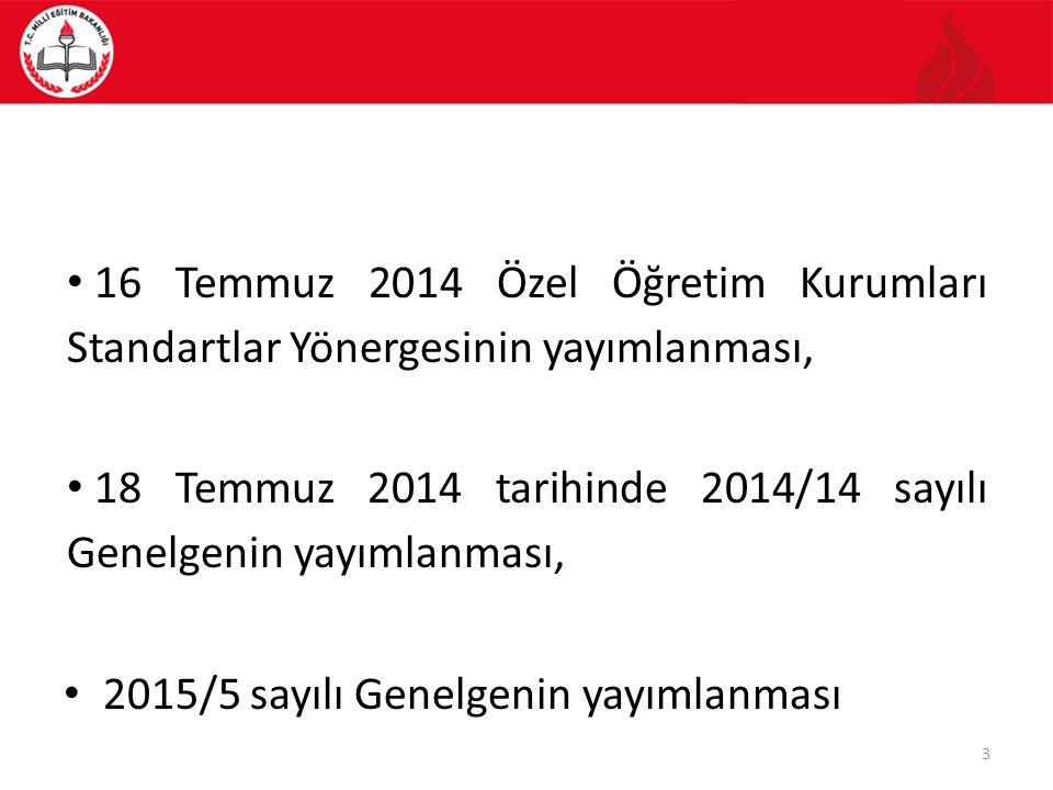 16 Temmuz 2014 Özel Öğretim Kurumları Standartlar Yönergesinin yayımlanması, 18 Temmuz 2014 tarihinde 2014/14 sayılı Genelgenin yayımlanması, 2015/5 s