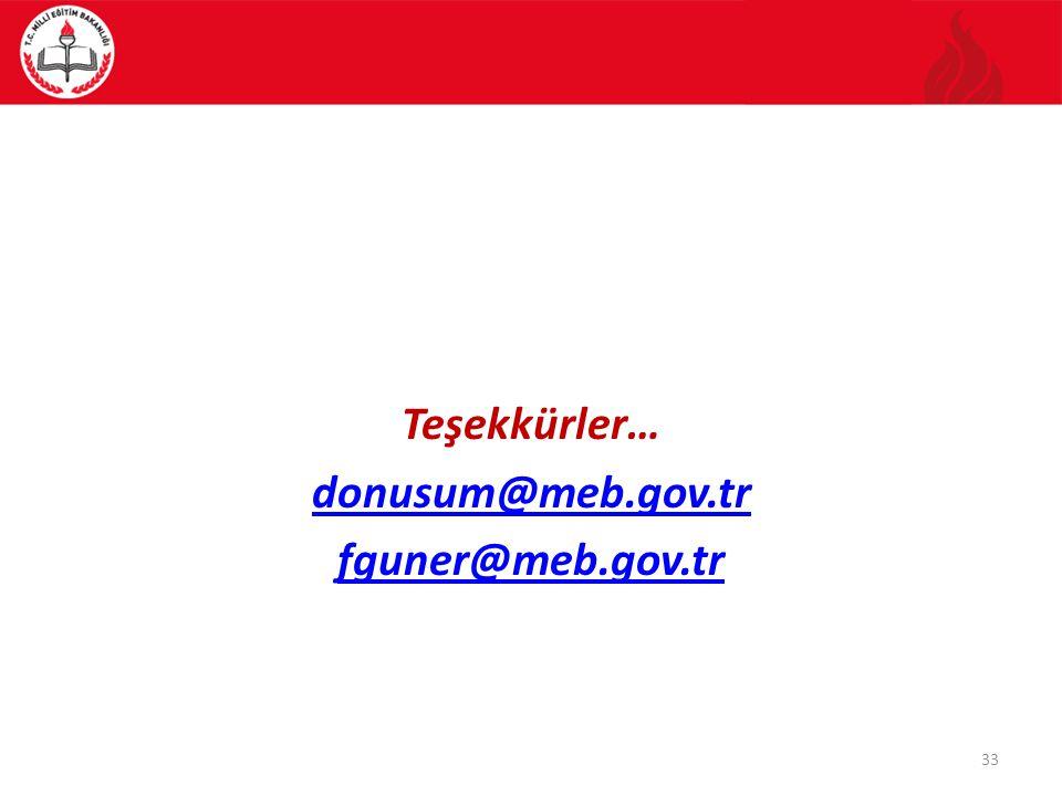Teşekkürler… donusum@meb.gov.tr fguner@meb.gov.tr 33
