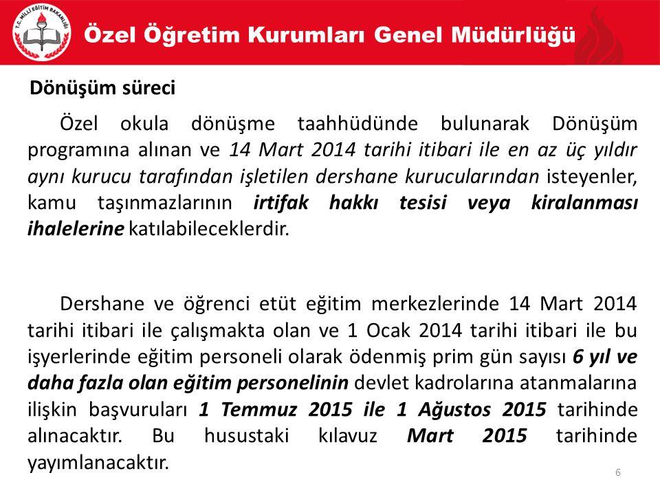 Özel Öğretim Kurumları Genel Müdürlüğü 7 Dönüşüm süreci Dönüşüm Programına başvuru süreci 02/06/2014 tarihinde başlamış ve dönemler halinde 01/09/2015 tarihine kadar devam edecektir.