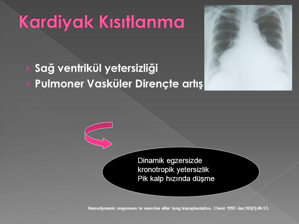 › Sağ ventrikül yetersizliği › Pulmoner Vasküler Dirençte artış Dinamik egzersizde kronotropik yetersizlik Pik kalp hızında düşme Hemodynamic response