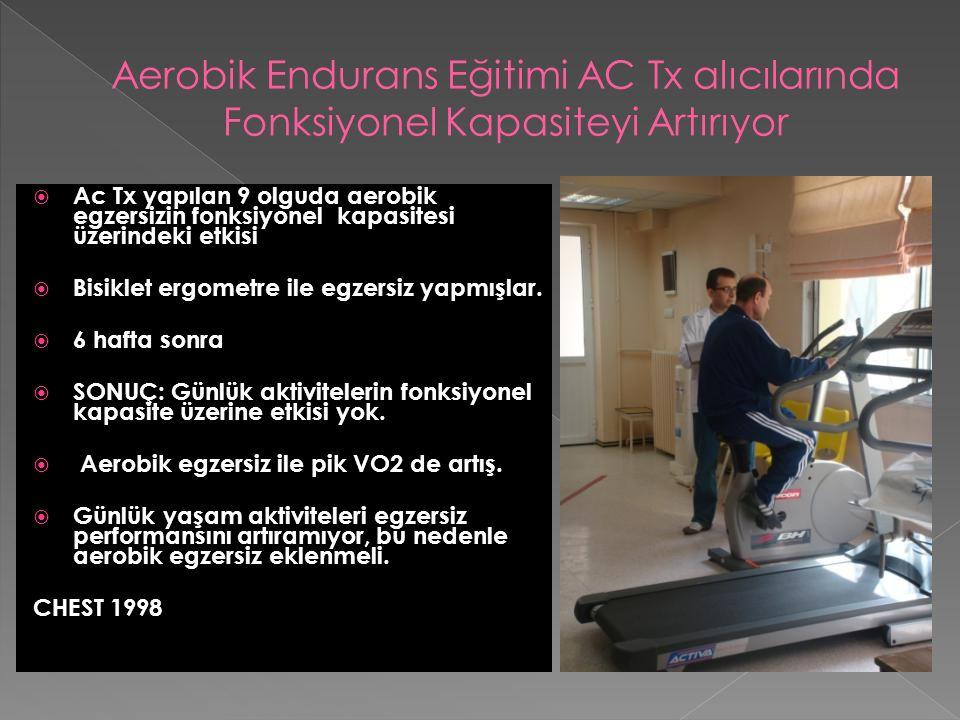  Ac Tx yapılan 9 olguda aerobik egzersizin fonksiyonel kapasitesi üzerindeki etkisi  Bisiklet ergometre ile egzersiz yapmışlar.  6 hafta sonra  SO
