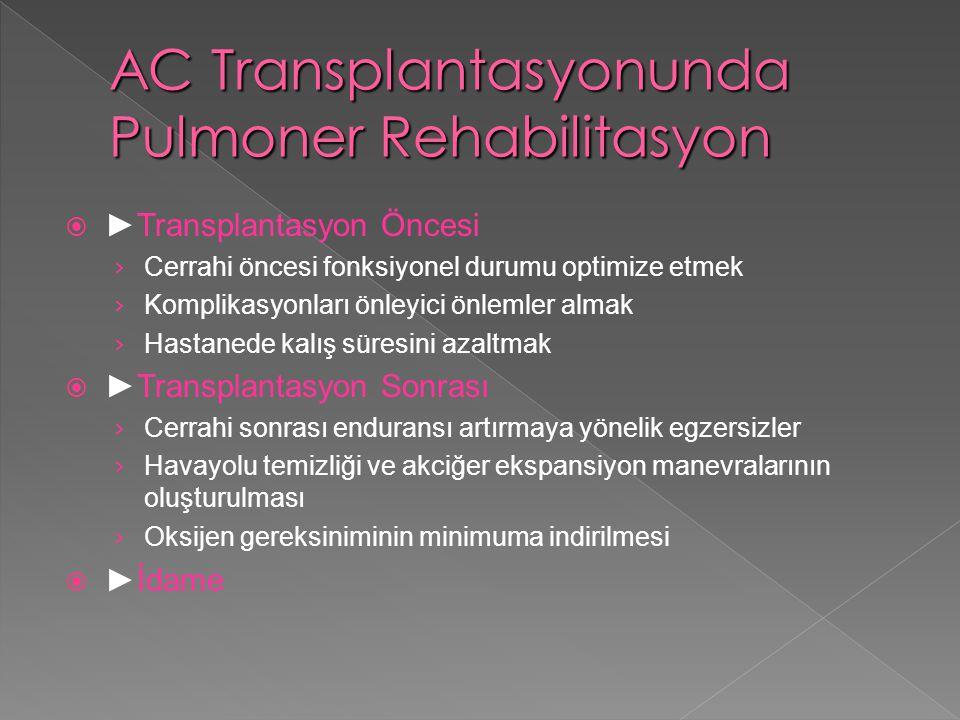  ►Transplantasyon Öncesi › Cerrahi öncesi fonksiyonel durumu optimize etmek › Komplikasyonları önleyici önlemler almak › Hastanede kalış süresini aza
