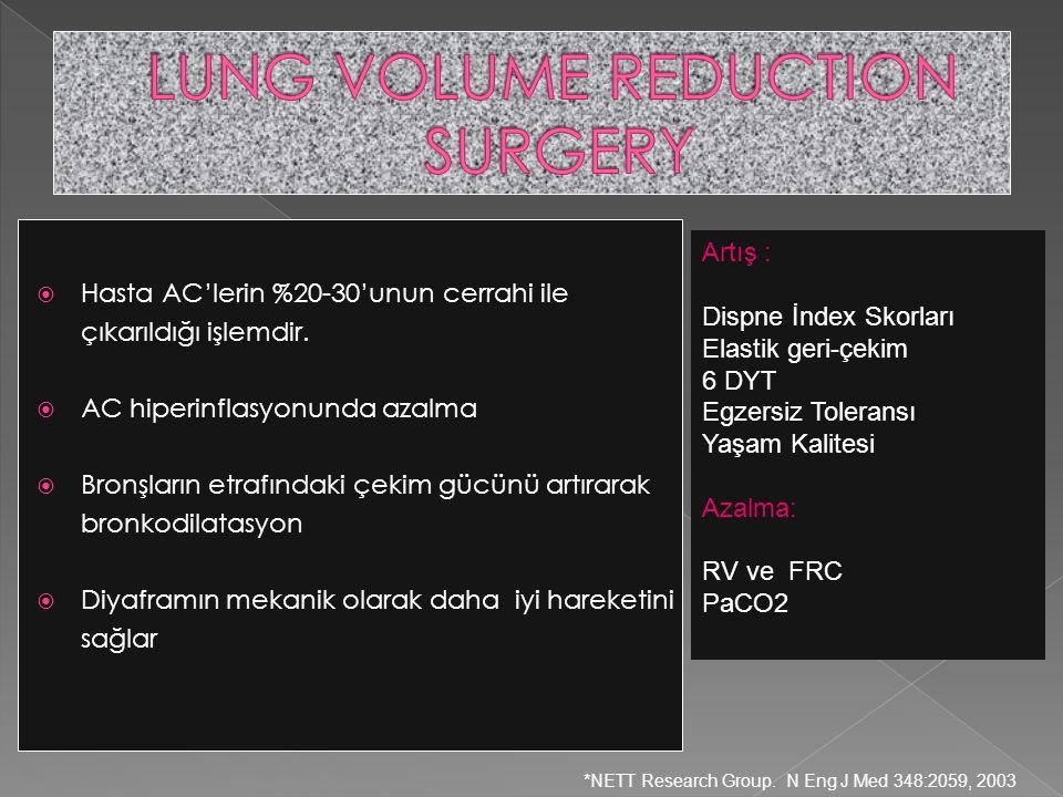  Hasta AC'lerin %20-30'unun cerrahi ile çıkarıldığı işlemdir.  AC hiperinflasyonunda azalma  Bronşların etrafındaki çekim gücünü artırarak bronkodi