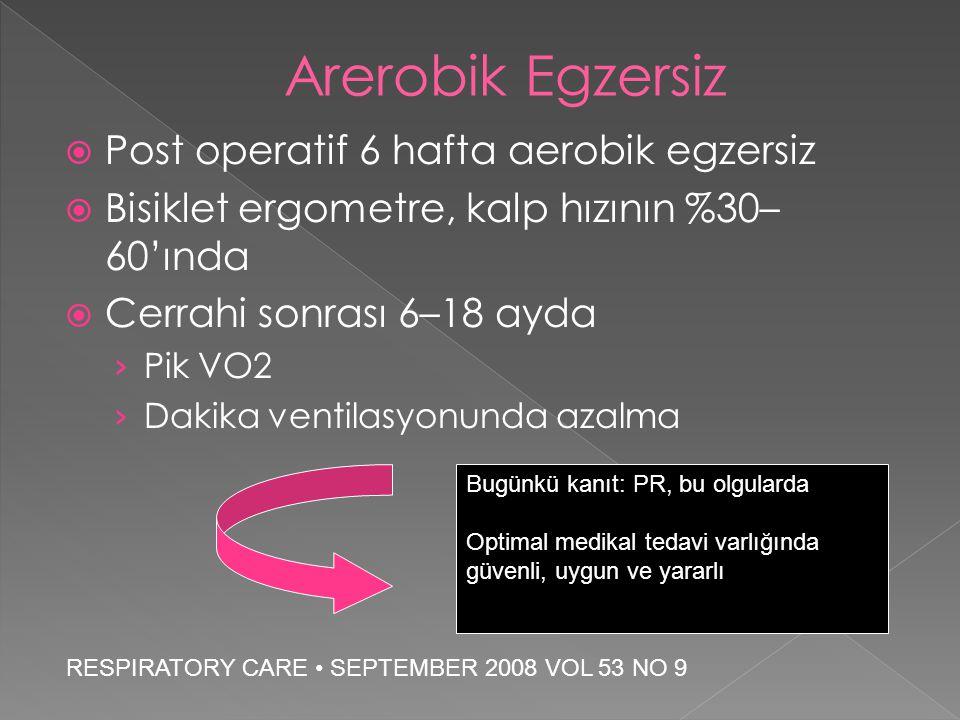  Post operatif 6 hafta aerobik egzersiz  Bisiklet ergometre, kalp hızının %30– 60'ında  Cerrahi sonrası 6–18 ayda › Pik VO2 › Dakika ventilasyonund