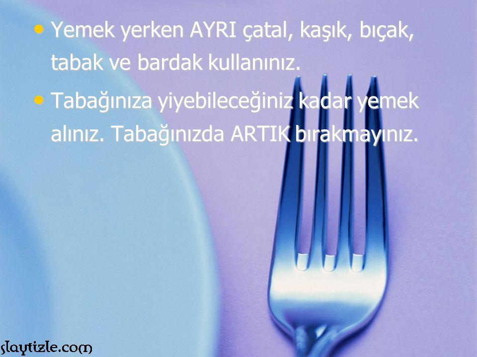 Yemek yerken AYRI çatal, kaşık, bıçak, tabak ve bardak kullanınız. Yemek yerken AYRI çatal, kaşık, bıçak, tabak ve bardak kullanınız. Tabağınıza yiyeb