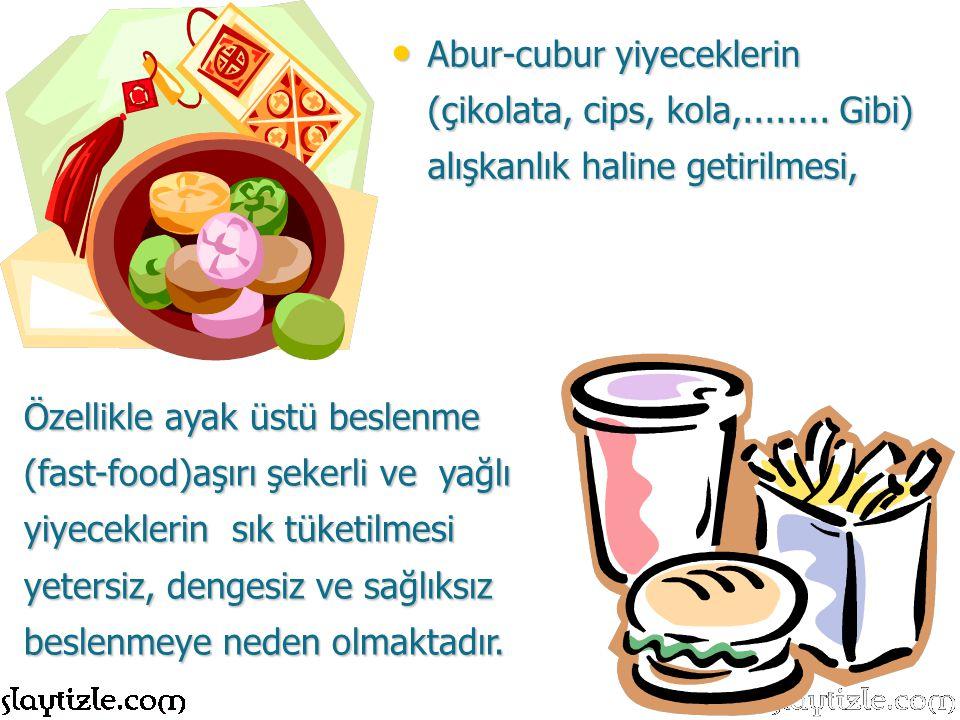 Özellikle ayak üstü beslenme (fast-food)aşırı şekerli ve yağlı yiyeceklerin sık tüketilmesi yetersiz, dengesiz ve sağlıksız beslenmeye neden olmaktadı