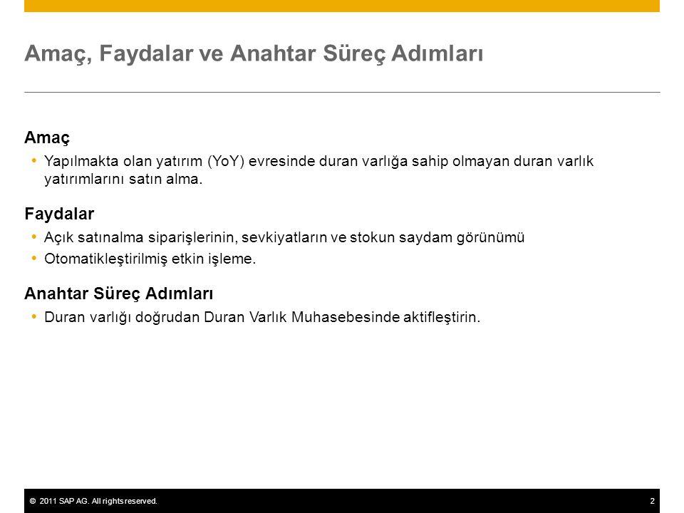 ©2011 SAP AG. All rights reserved.2 Amaç, Faydalar ve Anahtar Süreç Adımları Amaç  Yapılmakta olan yatırım (YoY) evresinde duran varlığa sahip olmaya