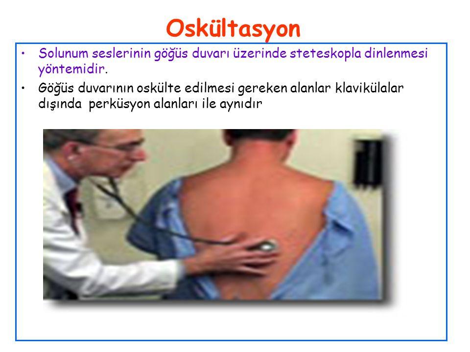 Oskültasyon Solunum seslerinin göğüs duvarı üzerinde steteskopla dinlenmesi yöntemidir. Göğüs duvarının oskülte edilmesi gereken alanlar klavikülalar