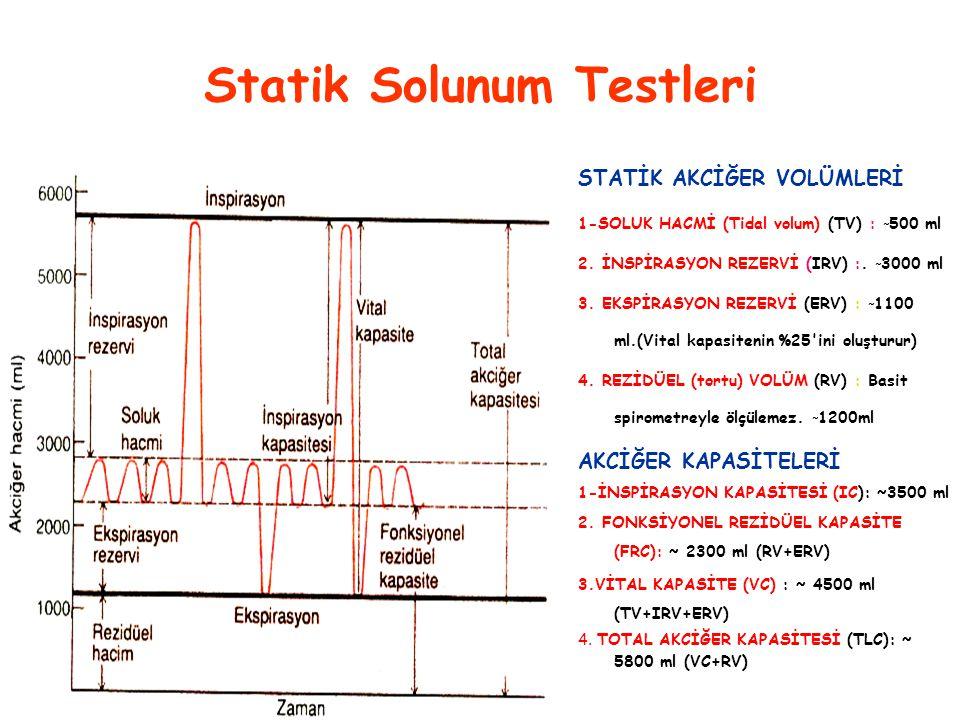 Statik Solunum Testleri STATİK AKCİĞER VOLÜMLERİ 1-SOLUK HACMİ (Tidal volum) (TV) : ˜ 500 ml 2. İNSPİRASYON REZERVİ (IRV) :. ˜ 3000 ml 3. EKSPİRASYON