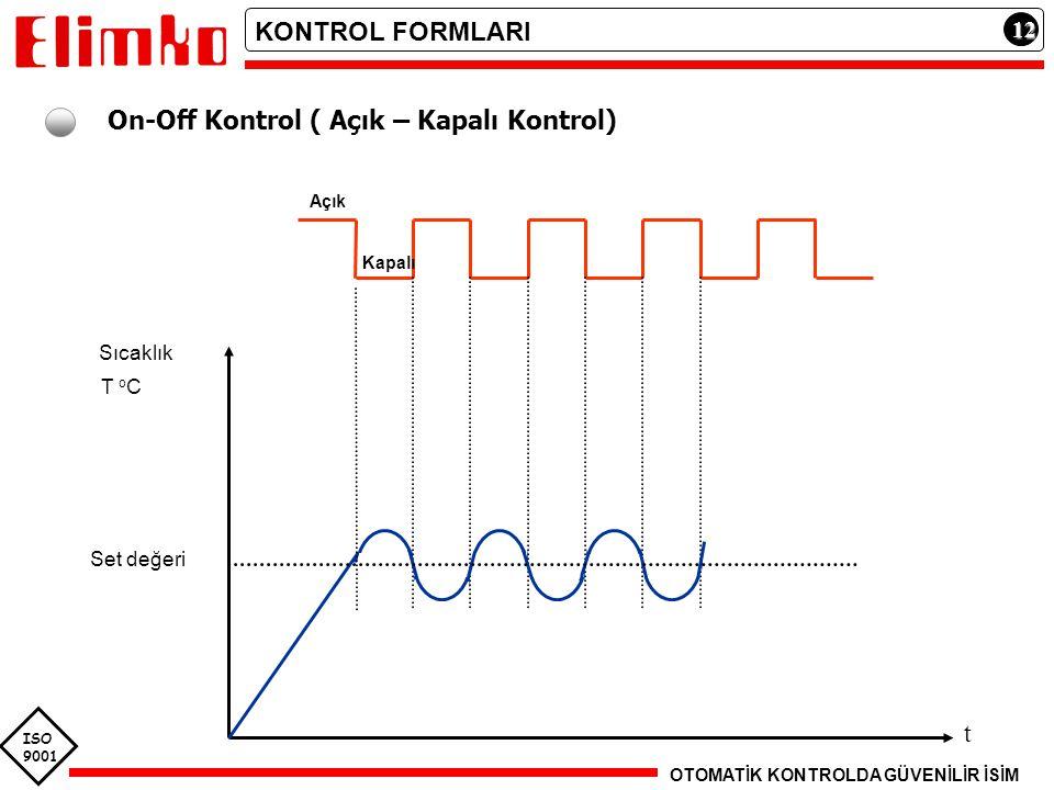 ISO 9001 12121212 On-Off Kontrol ( Açık – Kapalı Kontrol) Açık Kapalı t Sıcaklık T o C Set değeri KONTROL FORMLARI OTOMATİK KONTROLDA GÜVENİLİR İSİM