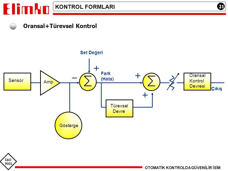 ISO 9001 21212121 Oransal+Türevsel Kontrol Sensor Amp Fark (Hata) Gösterge Set Değeri Türevsel Devre Oransal Kontrol Devresi Çıkış KONTROL FORMLARI OT
