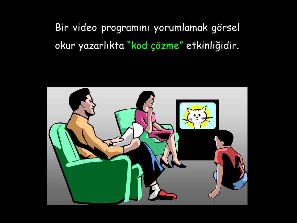 Bir video programını yorumlamak görsel okur yazarlıkta kod çözme etkinliğidir.