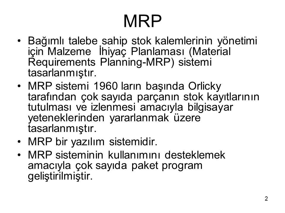 MRP Bağımlı talebe sahip stok kalemlerinin yönetimi için Malzeme İhiyaç Planlaması (Material Requirements Planning-MRP) sistemi tasarlanmıştır. MRP si