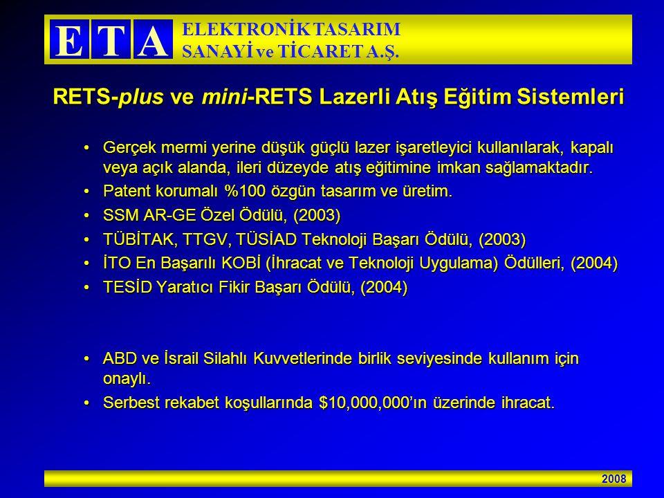 2008 ETA ELEKTRONİK TASARIM SANAYİ ve TİCARET A.Ş. RETS-plus ve mini-RETS Lazerli Atış Eğitim Sistemleri Gerçek mermi yerine düşük güçlü lazer işaretl
