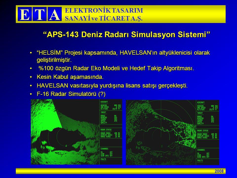 """2008 ETA ELEKTRONİK TASARIM SANAYİ ve TİCARET A.Ş. """"APS-143 Deniz Radarı Simulasyon Sistemi"""" """"HELSİM"""" Projesi kapsamında, HAVELSAN'ın altyüklenicisi o"""