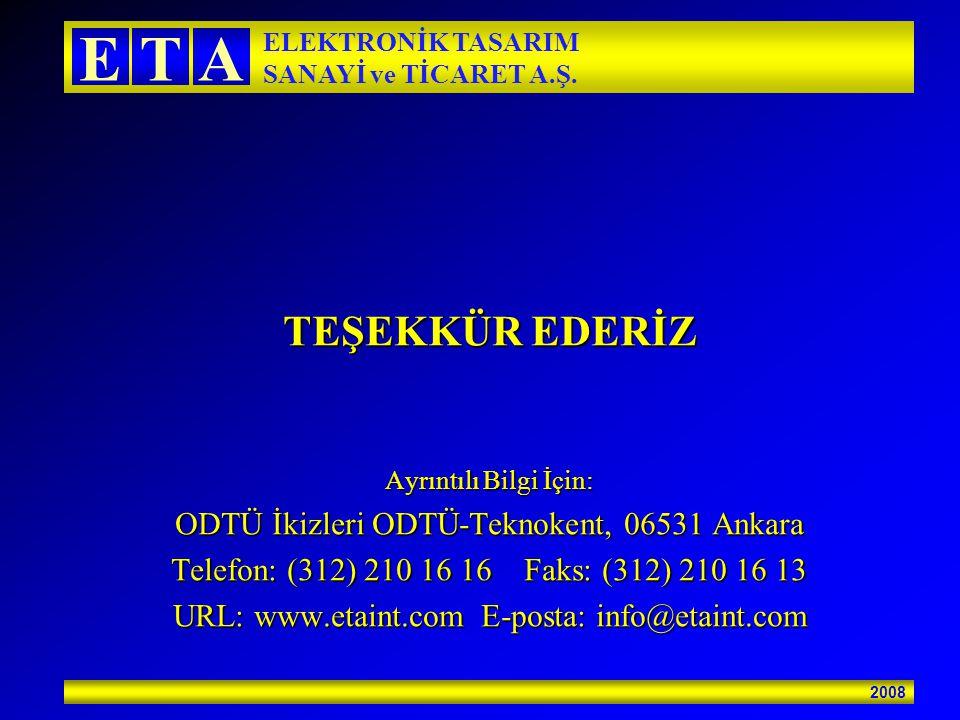 2008 ETA ELEKTRONİK TASARIM SANAYİ ve TİCARET A.Ş. TEŞEKKÜR EDERİZ Ayrıntılı Bilgi İçin: ODTÜ İkizleri ODTÜ-Teknokent, 06531 Ankara Telefon: (312) 210