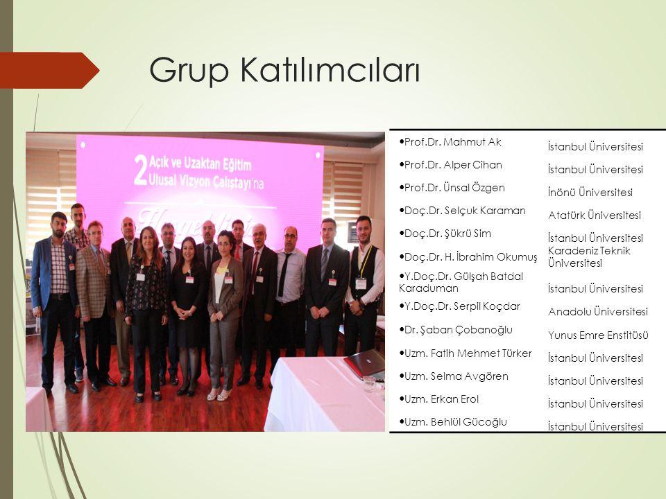 Grup Katılımcıları Prof.Dr. Mahmut Ak İstanbul Üniversitesi Prof.Dr.