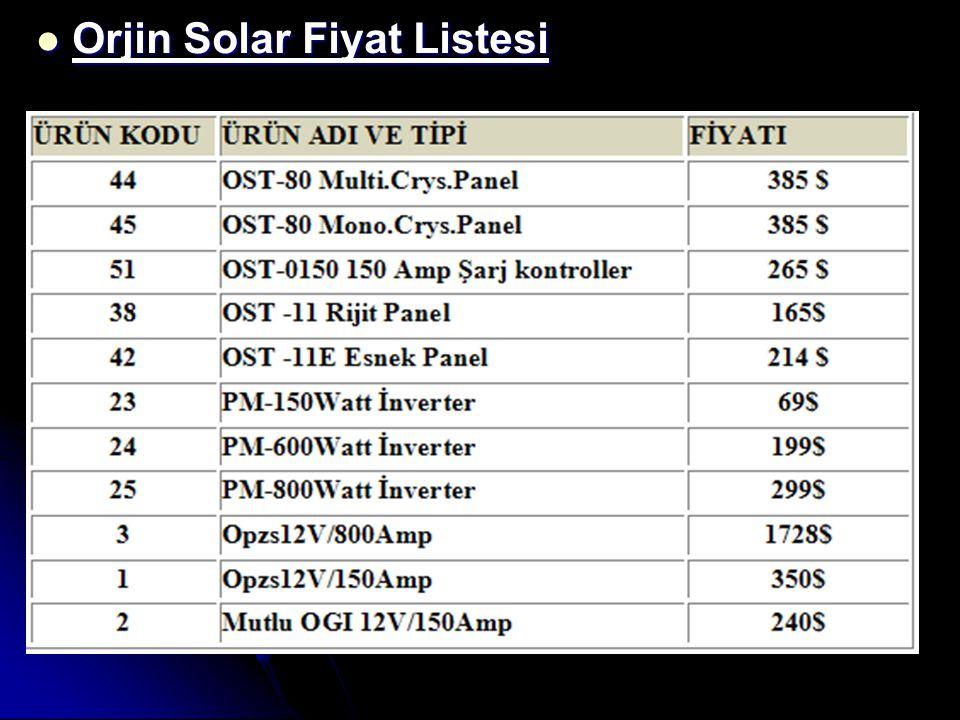 Orjin Solar Fiyat Listesi Orjin Solar Fiyat Listesi