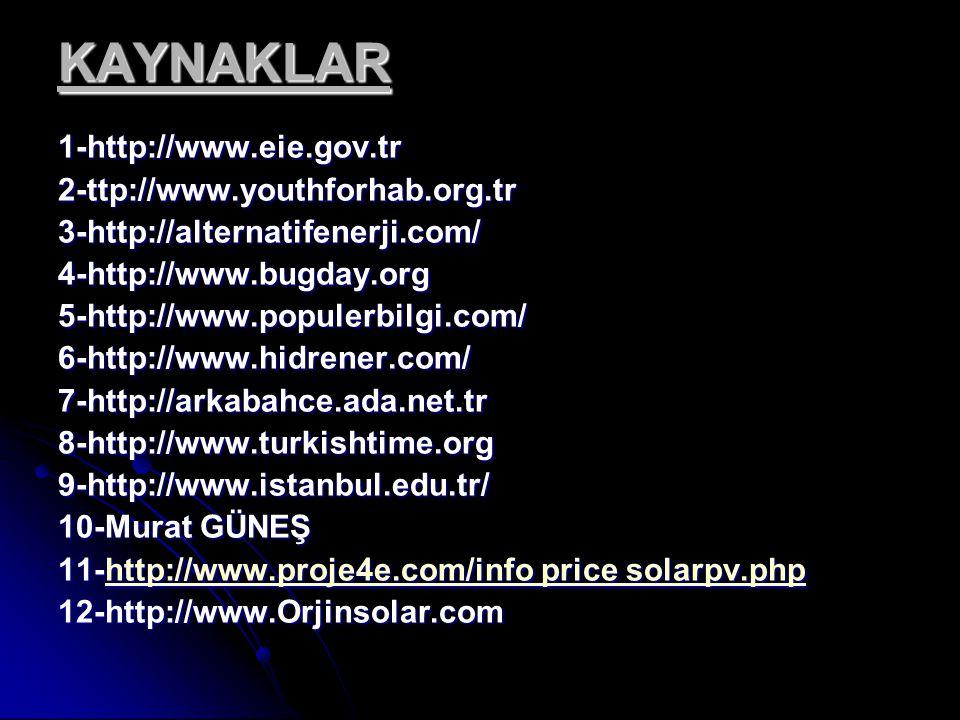 KAYNAKLAR KAYNAKLAR 1-http://www.eie.gov.tr2-ttp://www.youthforhab.org.tr3-http://alternatifenerji.com/4-http://www.bugday.org5-http://www.populerbilgi.com/6-http://www.hidrener.com/7-http://arkabahce.ada.net.tr8-http://www.turkishtime.org9-http://www.istanbul.edu.tr/ 10-Murat GÜNEŞ 11-http://www.proje4e.com/info price solarpv.php http://www.proje4e.com/info price solarpv.phphttp://www.proje4e.com/info price solarpv.php12-http://www.Orjinsolar.com