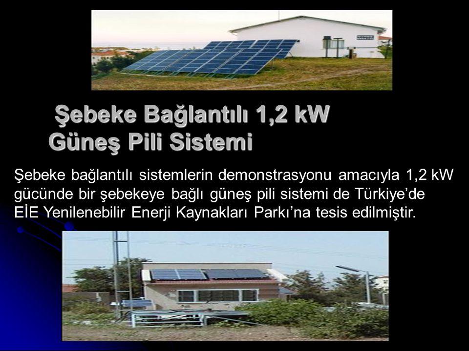 Şebeke Bağlantılı 1,2 kW Güneş Pili Sistemi Şebeke Bağlantılı 1,2 kW Güneş Pili Sistemi Şebeke bağlantılı sistemlerin demonstrasyonu amacıyla 1,2 kW gücünde bir şebekeye bağlı güneş pili sistemi de Türkiye'de EİE Yenilenebilir Enerji Kaynakları Parkı'na tesis edilmiştir.