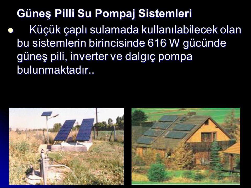 Güneş Pilli Su Pompaj Sistemleri Güneş Pilli Su Pompaj Sistemleri Küçük çaplı sulamada kullanılabilecek olan bu sistemlerin birincisinde 616 W gücünde güneş pili, inverter ve dalgıç pompa bulunmaktadır..