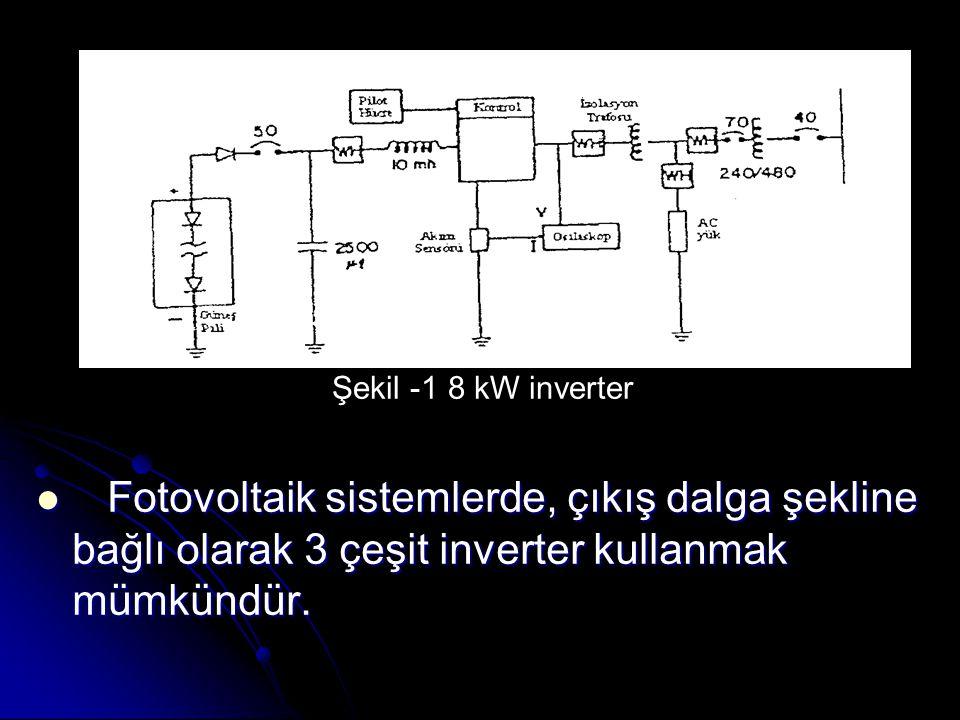 Fotovoltaik sistemlerde, çıkış dalga şekline bağlı olarak 3 çeşit inverter kullanmak mümkündür.