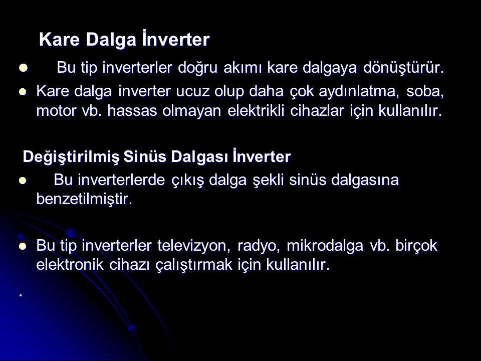 Kare Dalga İnverter Kare Dalga İnverter Bu tip inverterler doğru akımı kare dalgaya dönüştürür.