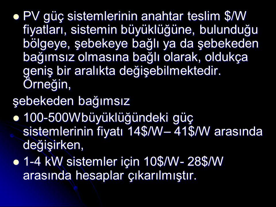 PV güç sistemlerinin anahtar teslim $/W fiyatları, sistemin büyüklüğüne, bulunduğu bölgeye, şebekeye bağlı ya da şebekeden bağımsız olmasına bağlı olarak, oldukça geniş bir aralıkta değişebilmektedir.