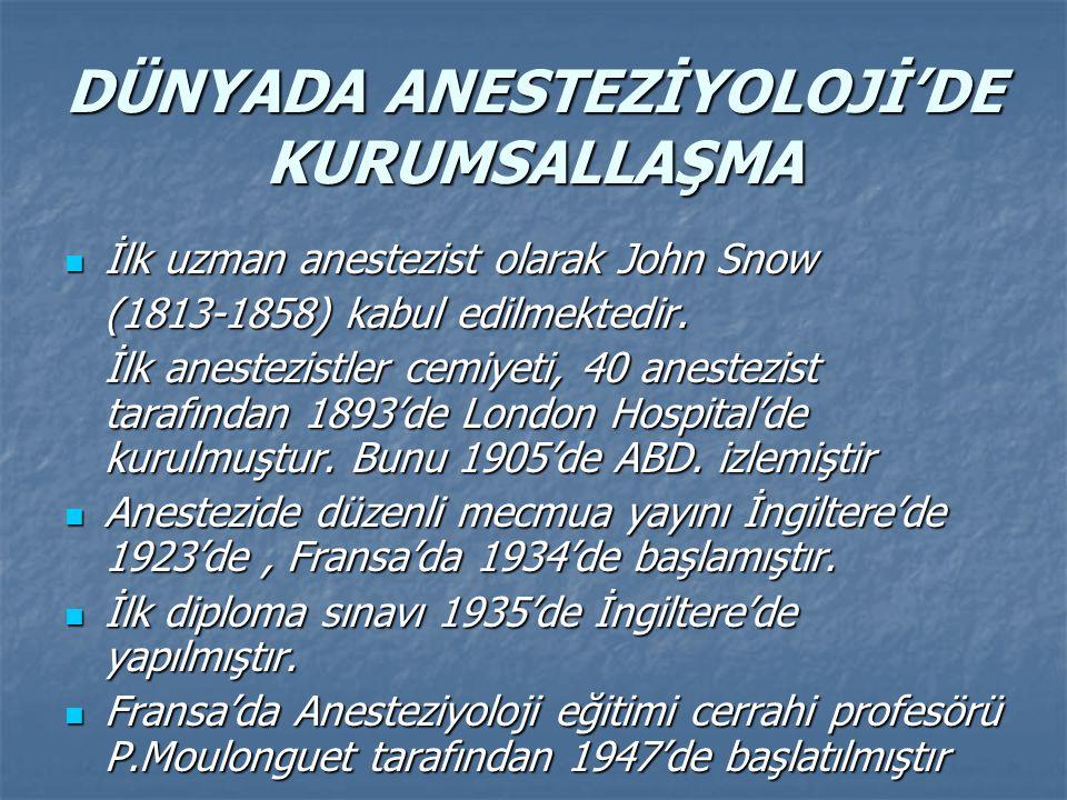 DÜNYADA ANESTEZİYOLOJİ'DE KURUMSALLAŞMA İlk uzman anestezist olarak John Snow İlk uzman anestezist olarak John Snow (1813-1858) kabul edilmektedir.