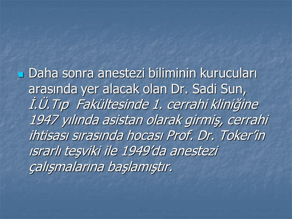 Daha sonra anestezi biliminin kurucuları arasında yer alacak olan Dr.