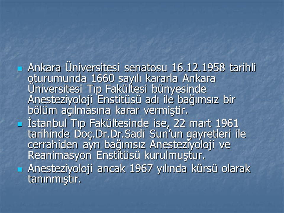 Ankara Üniversitesi senatosu 16.12.1958 tarihli oturumunda 1660 sayılı kararla Ankara Üniversitesi Tıp Fakültesi bünyesinde Anesteziyoloji Enstitüsü adı ile bağımsız bir bölüm açılmasına karar vermiştir.