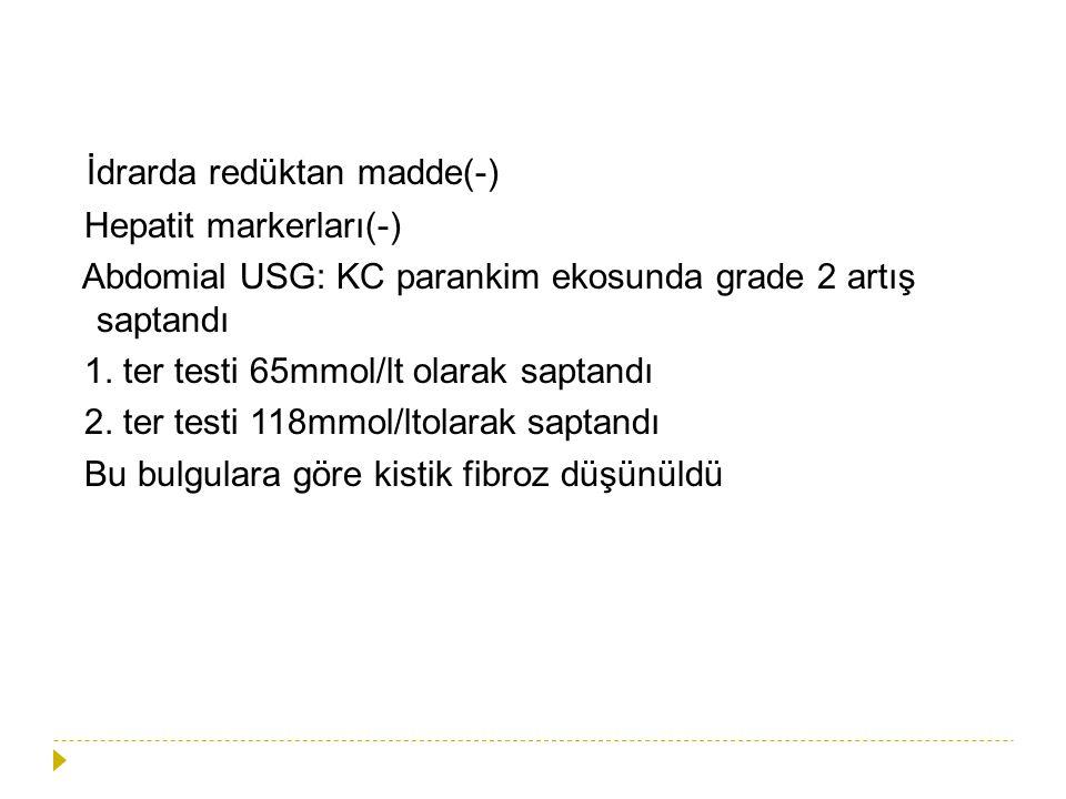 İdrarda redüktan madde(-) Hepatit markerları(-) Abdomial USG: KC parankim ekosunda grade 2 artış saptandı 1. ter testi 65mmol/lt olarak saptandı 2. te