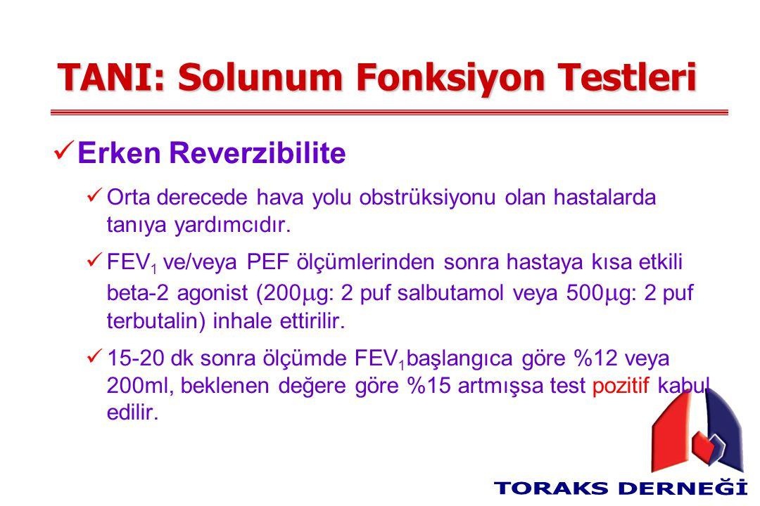 TANI: Solunum Fonksiyon Testleri Erken Reverzibilite Orta derecede hava yolu obstrüksiyonu olan hastalarda tanıya yardımcıdır. FEV 1 ve/veya PEF ölçüm