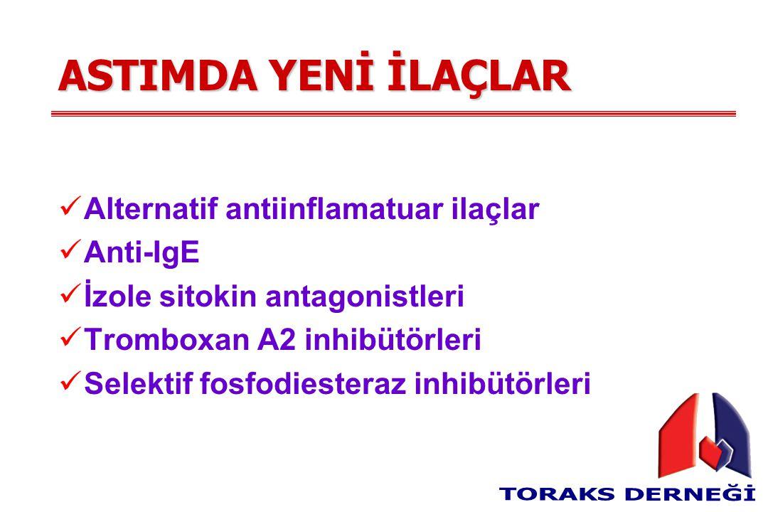 ASTIMDA YENİ İLAÇLAR Alternatif antiinflamatuar ilaçlar Anti-IgE İzole sitokin antagonistleri Tromboxan A2 inhibütörleri Selektif fosfodiesteraz inhibütörleri