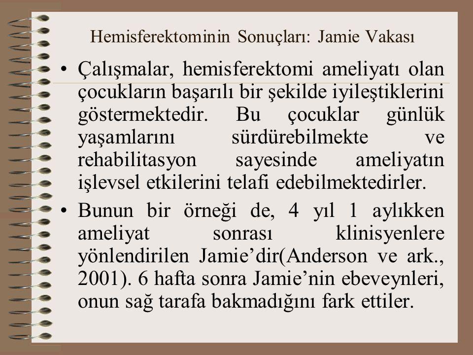 Hemisferektominin Sonuçları: Jamie Vakası Çalışmalar, hemisferektomi ameliyatı olan çocukların başarılı bir şekilde iyileştiklerini göstermektedir. Bu