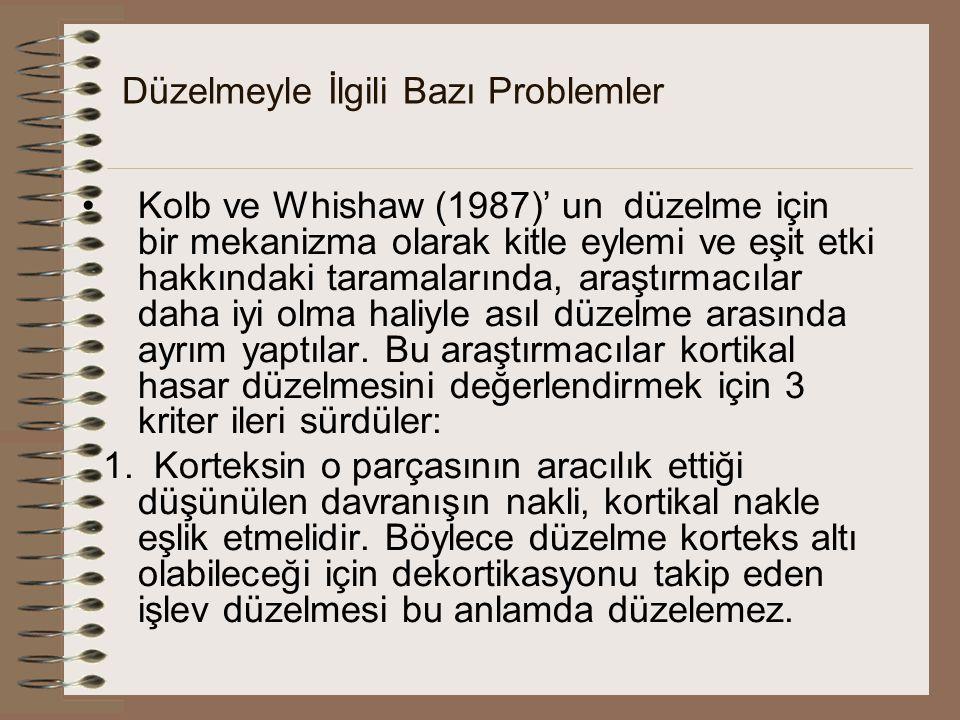 Düzelmeyle İlgili Bazı Problemler Kolb ve Whishaw (1987)' un düzelme için bir mekanizma olarak kitle eylemi ve eşit etki hakkındaki taramalarında, ara