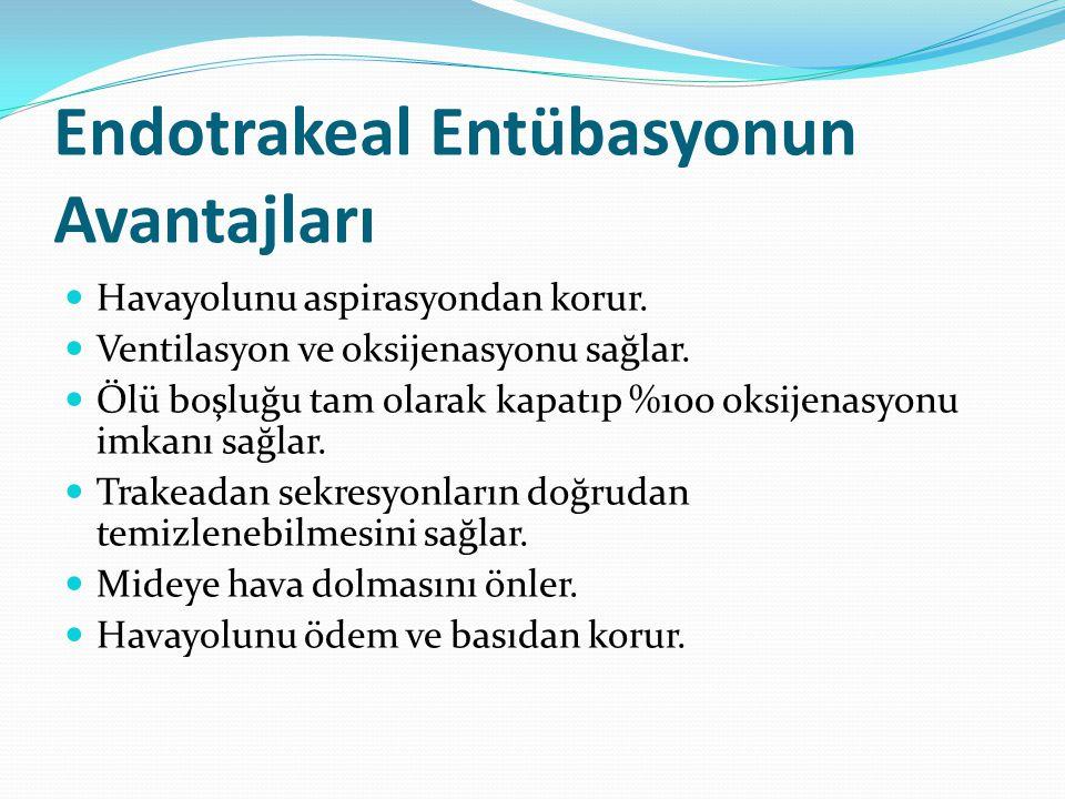 Endotrakeal Entübasyonun Avantajları Havayolunu aspirasyondan korur. Ventilasyon ve oksijenasyonu sağlar. Ölü boşluğu tam olarak kapatıp %100 oksijena