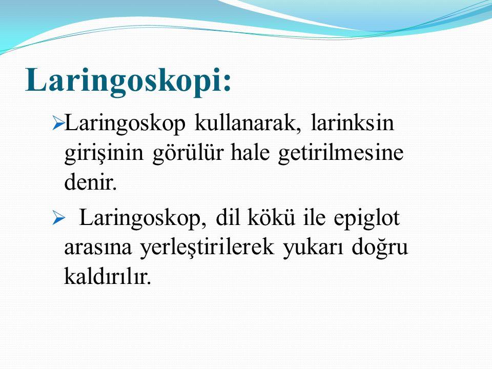 Laringoskopi:  Laringoskop kullanarak, larinksin girişinin görülür hale getirilmesine denir.  Laringoskop, dil kökü ile epiglot arasına yerleştirile