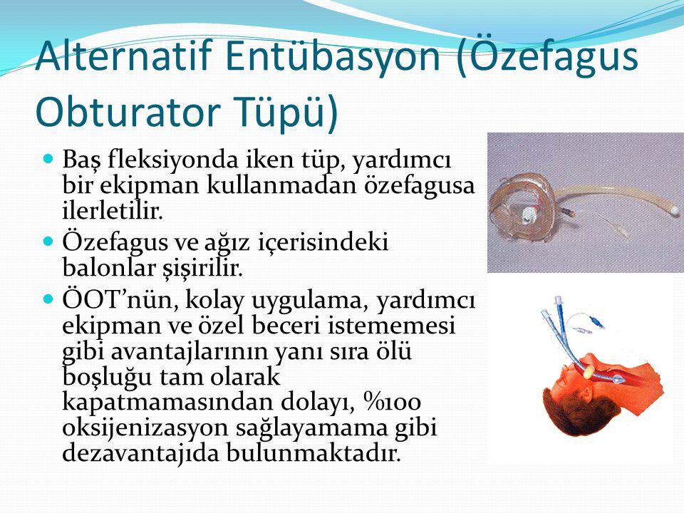 Alternatif Entübasyon (Özefagus Obturator Tüpü) Baş fleksiyonda iken tüp, yardımcı bir ekipman kullanmadan özefagusa ilerletilir. Özefagus ve ağız içe