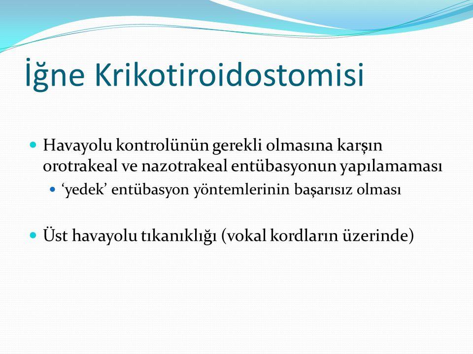 İğne Krikotiroidostomisi Havayolu kontrolünün gerekli olmasına karşın orotrakeal ve nazotrakeal entübasyonun yapılamaması 'yedek' entübasyon yöntemler