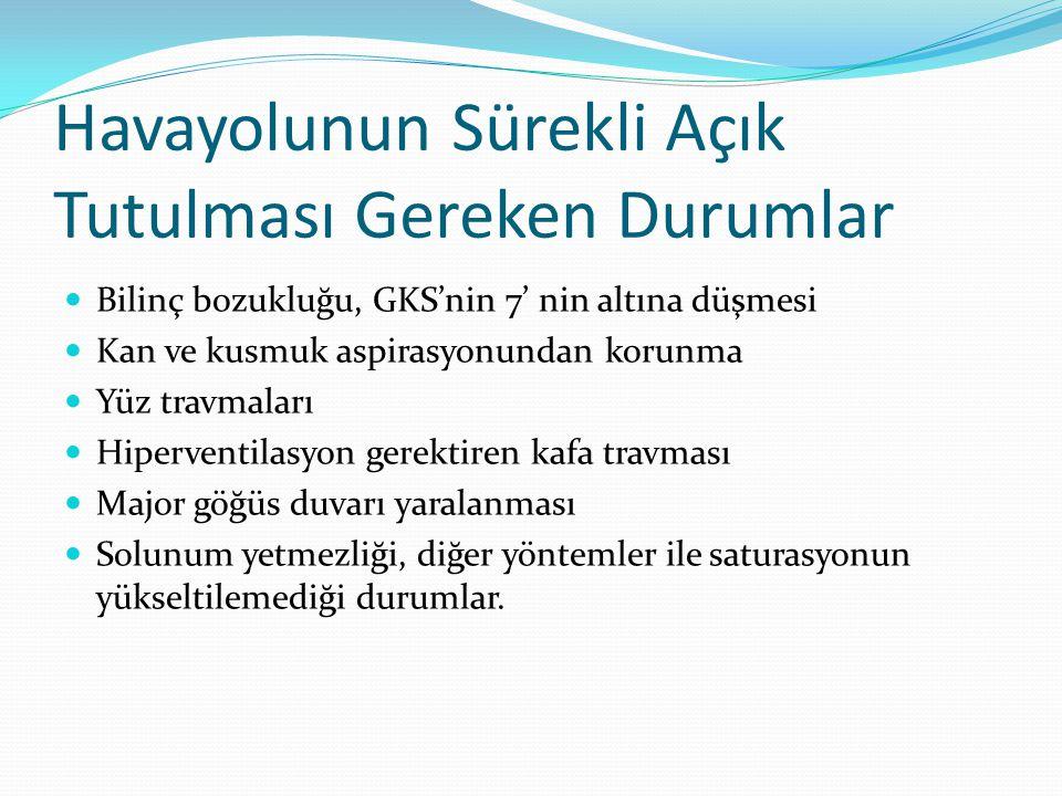 Kural olarak kafa travmalı hastada GKS = 7 ' nin altına düşünce hasta entübe edilir.