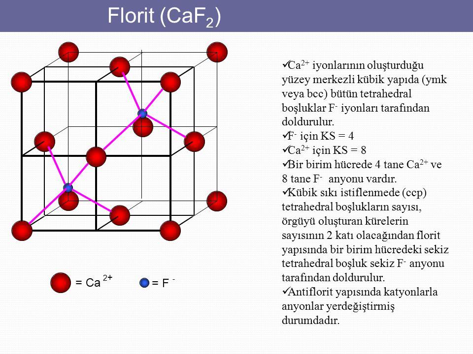 Florit (CaF 2 ) = Ca 2 + = F - Ca 2+ iyonlarının oluşturduğu yüzey merkezli kübik yapıda (ymk veya bcc) bütün tetrahedral boşluklar F - iyonları taraf