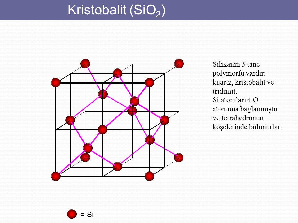 Kristobalit (SiO 2 ) = Si Silikanın 3 tane polymorfu vardır: kuartz, kristobalit ve tridimit. Si atomları 4 O atomuna bağlanmıştır ve tetrahedronun kö