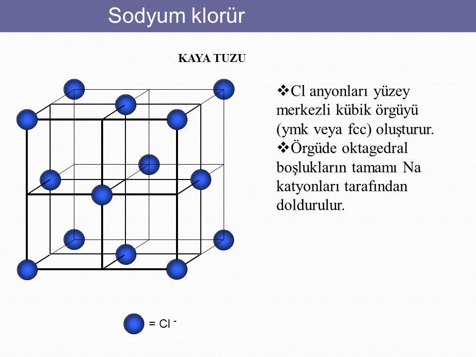 Sodyum klorür = Cl - KAYA TUZU  Cl anyonları yüzey merkezli kübik örgüyü (ymk veya fcc) oluşturur.  Örgüde oktagedral boşlukların tamamı Na katyonla