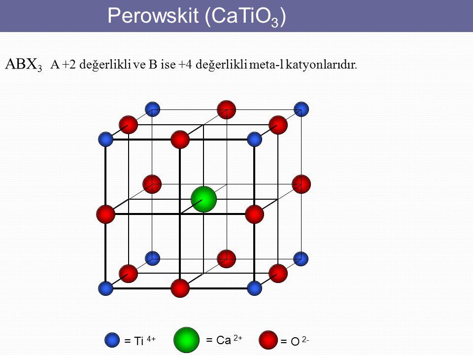 Perowskit (CaTiO 3 ) = Ti 4+ = O 2- = Ca 2+ ABX 3 A +2 değerlikli ve B ise +4 değerlikli meta-l katyonlarıdır.