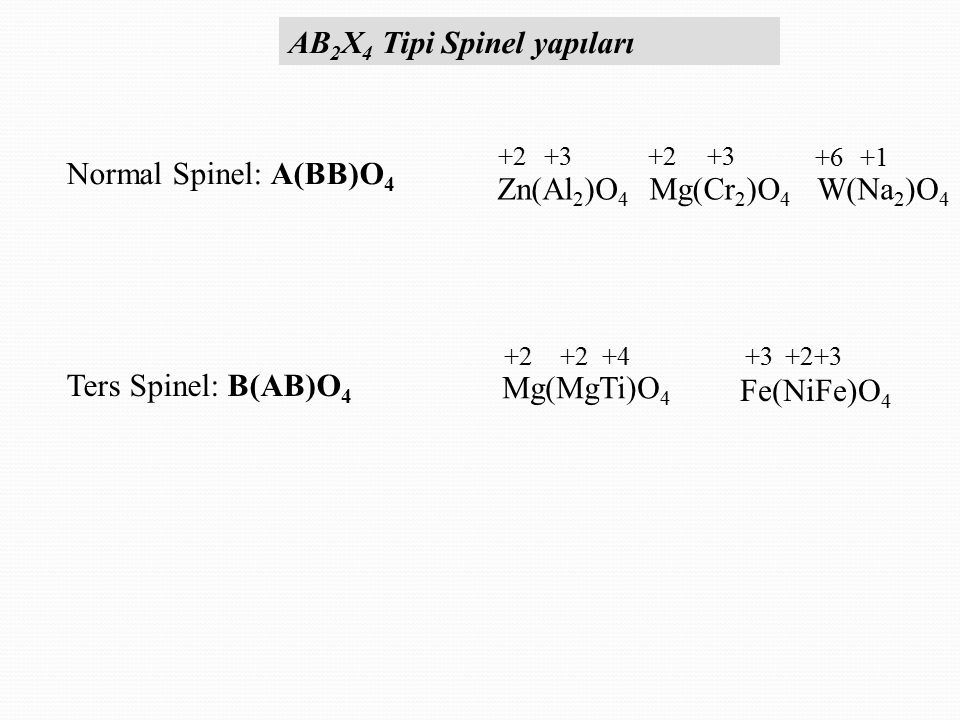 Normal Spinel: A(BB)O 4 Ters Spinel: B(AB)O 4 Zn(Al 2 )O 4 Mg(Cr 2 )O 4 W(Na 2 )O 4 +2+3+2+3 +6+1 Mg(MgTi)O 4 +2+2 +4 Fe(NiFe)O 4 +3+2+3 AB 2 X 4 Tipi