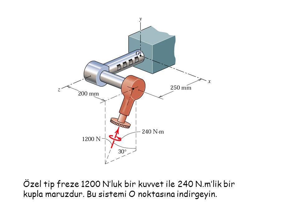 Özel tip freze 1200 N'luk bir kuvvet ile 240 N.m'lik bir kupla maruzdur. Bu sistemi O noktasına indirgeyin.