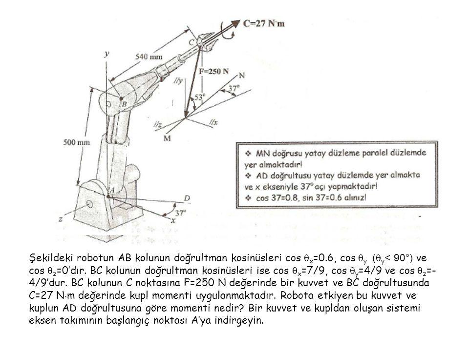Şekildeki robotun AB kolunun doğrultman kosinüsleri cos  x =0.6, cos  y (  y < 90°) ve cos  z =0'dır. BC kolunun doğrultman kosinüsleri ise cos 